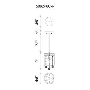 CWI Lighting Radiant Mini Pendant Light - 1-Light - 6-in - Chrome/White