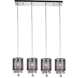 CWI Lighting Radiant Pendant Light - 4-Light - 33-in - Chrome/Black