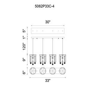 CWI Lighting Radiant Pendant Light - 4-Light - 33-in - Chrome/White