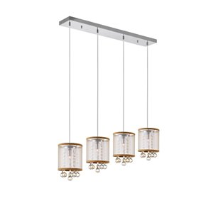CWI Lighting Radiant Pendant Light - 4-Light - 33-in - Chrome/Gold