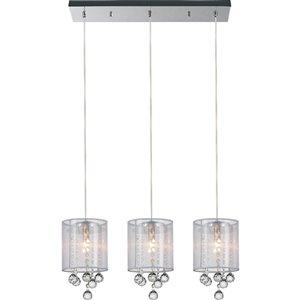 CWI Lighting Radiant Pendant Light - 3-Light - 24-in - Chrome/White