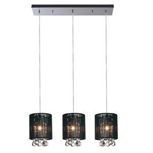 CWI Lighting Water Drop Pendant Light - 3-Light - 24-in - Chrome/Black