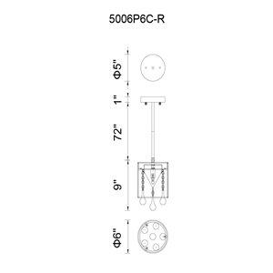 CWI Lighting Water Drop Mini Pendant Light - 1-Light - 6-in - Chrome/Black
