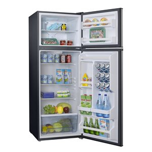 Galanz Top Freezer Refrigerator - 12-cu ft - 24-in - Stainless Steel