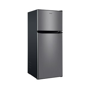 Galanz Top Freezer Refrigerator - 10-cu ft - 24-in - Stainless Steel
