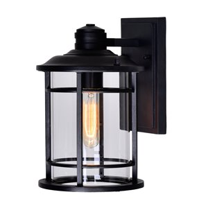 CWI Lighting Belmont 1 Light Outdoor Wall Lantern Sconce - Black finish - 8-in x 11-in x 7-in