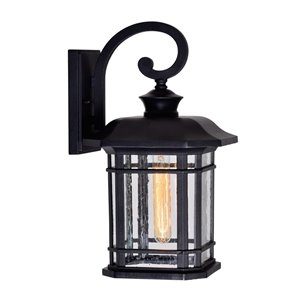 CWI Lighting Blackburn 1 Light Outdoor Wall Lantern Sconce - Black finish - 10-in x 9-in x 17-in