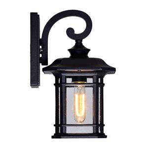 CWI Lighting Blackburn Outdoor Wall Lantern Sconce - 1 Light - Black Finish - 8-in x 7-in x 13-in