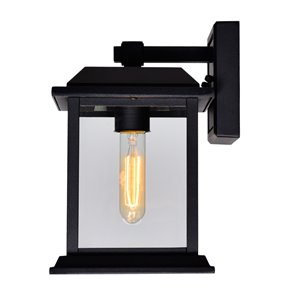 CWI Lighting Blackbridge 1 Light Outdoor Wall Lantern Sconce - Black Finish - 8-in x 7-in x 10-in