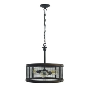 Westinghouse Lighting Canada  3 Light Pendant Dual Mount - Oil Rubbed Bronze with Barnwood Accents