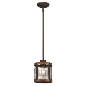 Westinghouse Lighting Canada 1 Light Pendant with Mesh Shade - Oil Rubbed Bronze with Barnwood Accents