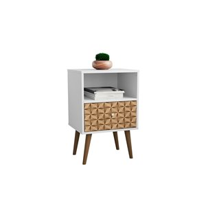 Manhattan Comfort Liberty Nightstand 1.0 with Cubby Space - 17.72-in x 27.09-in - White/3D Brown Prints