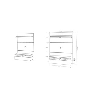 Manhattan Comfort City 1.2 Floating Wall Theater Entertainment Centre - 47.24-in-in x 63.42-in - Gloss White