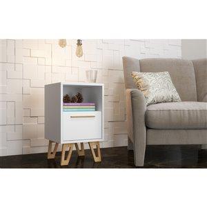 Manhattan Comfort Doris 1-Drawer Mid-Century Nightstand - 12.99-in x 22.04-in - White