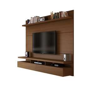 Manhattan Comfort City 2.2 Floating Wall Theater Entertainment Centre - 86.5-in x 63.42-in - Nut Brown
