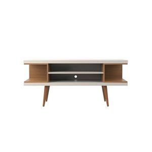 Manhattan Comfort Utopia TV Stand with Splayed Legs and Shelves - 53.14-in x 24.01-in - Off White/Maple Cream