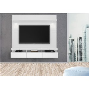 Manhattan Comfort Cabrini 2.2 Floating Theater Entertainment Centre  - 85.62-in x 67.24-in - Gloss White