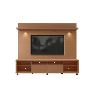 Manhattan Comfort Cabrini TV Stand and Floating Wall TV Panel 2.2 with LED Lights - 85.8-in x 73-in - Maple Cream