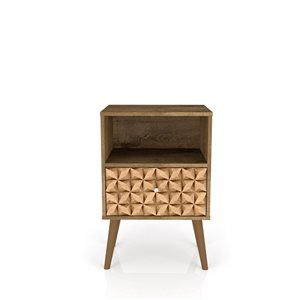 Manhattan Comfort Liberty Nightstand 1.0 with Cubby - 17.72-in x 27.09-in - Rustic Brown/3D Brown Prints
