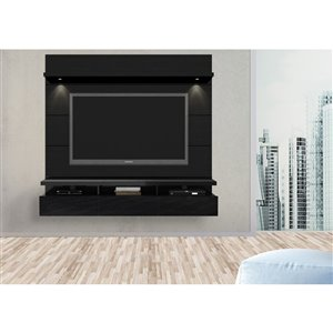 Manhattan Comfort Cabrini 2.2 Floating Theater Entertainment Centre  - 85.62-in x 67.24-in - Gloss/Matte Black