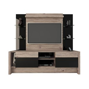 Manhattan Comfort Morning Side Theater Entertainment Centre - 74.2-in x 70.8-in - Nature/Black