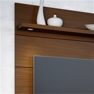 Manhattan Comfort Cabrini 1.2 Floating Entertainment Centre with 3 Shelves - 47.24-in x 67.24-in - Nut Brown