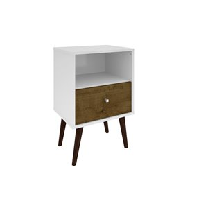 Manhattan Comfort Liberty Nightstand 1.0 with Cubby - 17.72-in x 27.09-in - White/Rustic Brown