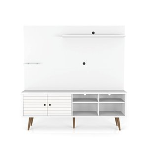 Manhattan Comfort Liberty Entertainment Centre with Overhead Shelf - 70.87-in x 72.05-in - White/Wood