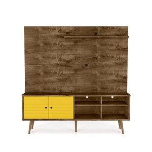 Manhattan Comfort Liberty Entertainment Centre with Overhead Shelf - 70.87-in x 72.05-in - Rustic Brown/Yellow