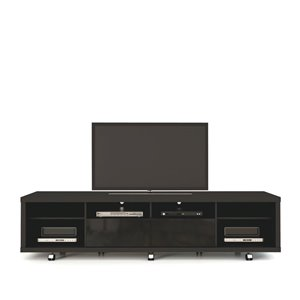 Manhattan Comfort Cabrini TV Stand 2.2 with 6 Shelves - 85.43-in x 20.86-in - Gloss/Matte Black