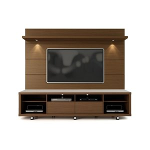 Manhattan Comfort Cabrini TV Stand and Floating Wall TV Panel 2.2 with LED Lights  - 85.8-in x 73-in - Nut Brown