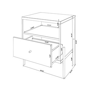 Manhattan Comfort Joy 1-Drawer Nightstand - 20.28-in x 22.44-in - Off White/Oak