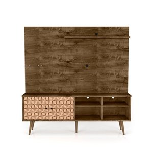 Manhattan Comfort Liberty Entertainment Centre with Overhead Shelf - 70.87-in x 72.05-in - Rustic Brown/3D Prints