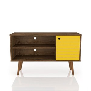 Manhattan Comfort Liberty TV Stand with 2 Shelves and 1 Door - 42.52-in x 25.8-in - Rustic Brown/Yellow