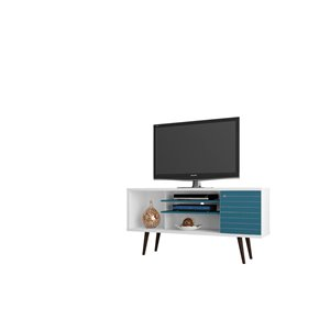 Manhattan Comfort Liberty TV Stand with 5 Shelves and 1 Door - 53.14-in x 26.57-in - White/Aqua Blue