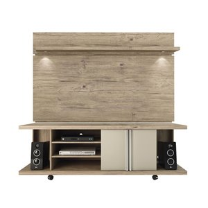 Manhattan Comfort Carnegie TV Stand and Park 1.8 Floating TV Panel - 71-in x 73-in - Nature/Nude