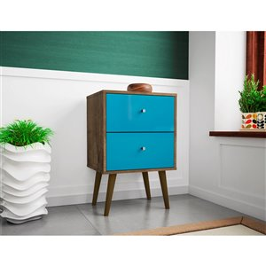 Manhattan Comfort Liberty Nightstand 2.0 with 2 Drawers - 17.72-in x 27.09-in - Rustic Brown/Aqua Blue