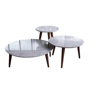 Manhattan Comfort Moore 3-Piece Round End Table Set - Gloss - Marble Grey