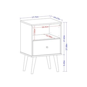 Manhattan Comfort Liberty Nightstand 1.0 with Cubby - 17.72-in x 27.09-in - White/Yellow