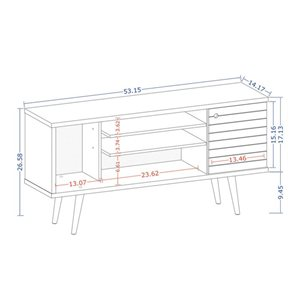 Manhattan Comfort Liberty TV Stand with 5 Shelves and 1 Door - 53.14-in x 26.57-in - White
