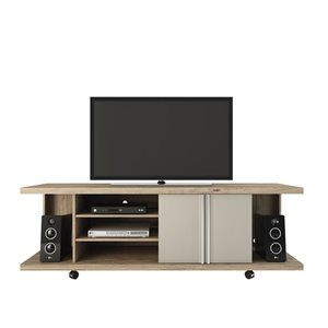 Manhattan Comfort Carnegie TV Stand with Shelves - 71-in x 23.6-in - Nature/Nude