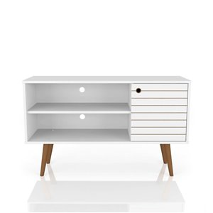Manhattan Comfort Liberty TV Stand with 2 Shelves and 1 Door - 42.52-in x 25.8-in - White/Wood