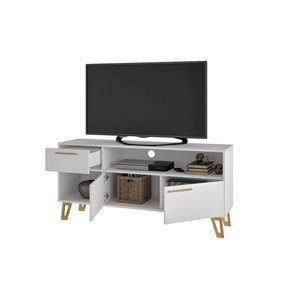 Manhattan Comfort Doris TV Stand with 1 Drawer - 53.14-in x 24.6-in - White/Wood
