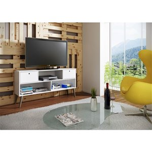 Manhattan Comfort Uppsala TV Stand with 3 Shelves - 53.15-in x 27.36-in - White