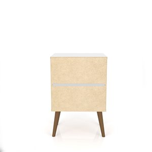 Manhattan Comfort Liberty Nightstand 2.0 with 2 Drawers - 17.72-in x 27.09-in - White/3D Brown Prints