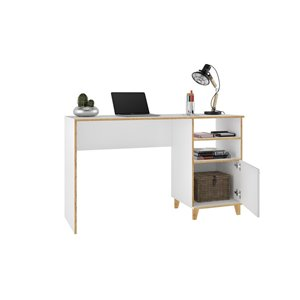 Manhattan Comfort Minetta 2-Shelf Mid-Century Office Desk - 53.14-in x 31.1-in - White