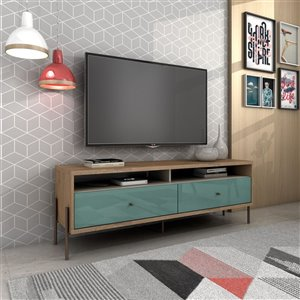 Manhattan Comfort Joy TV Stand with 2 Drawers - 59.06-in x 20.28-in - Blue/Wood