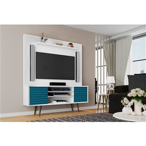 Manhattan Comfort Liberty Entertainment Centre with Overhead Shelf - 63-in x 71.92-in - White/Aqua Blue