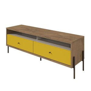 Manhattan Comfort Joy TV Stand with 2 Drawers - 59.06-in x 20.28-in - Yellow/Wood
