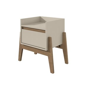 Manhattan Comfort Essence 1-Drawer Nightstand - 23.03-in x 22.83-in - Off White/Oak
